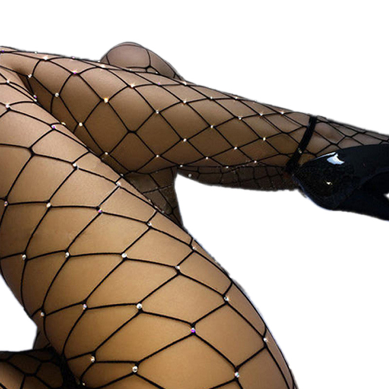 Sexy Diamond Design Womens Fishnet Tights Mesh Pantyhose Summer Ladies Rhinestone Nylon Tights Footless Fish Net Tights Collant