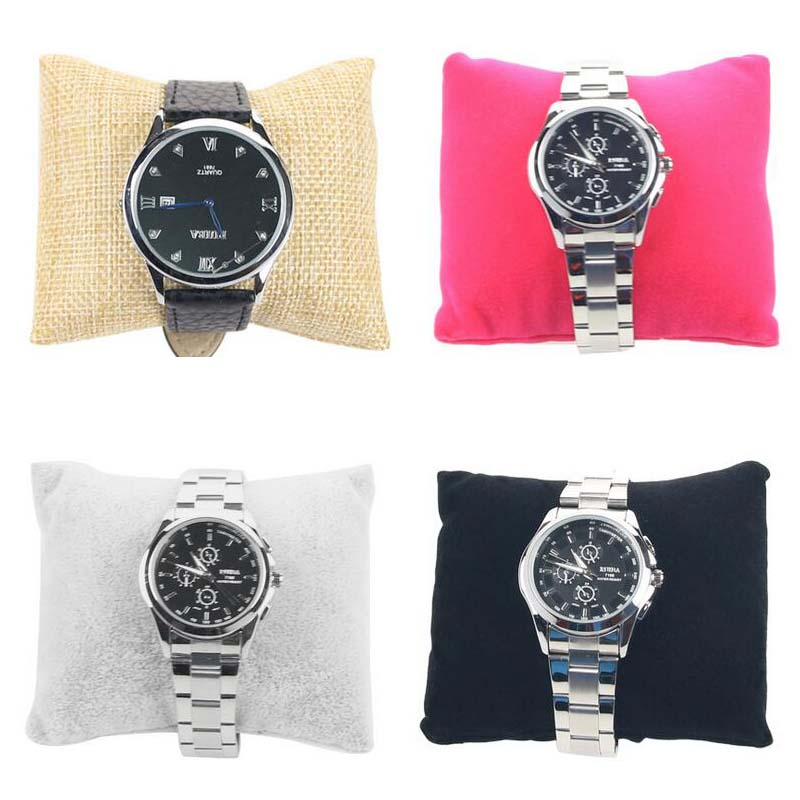 20pcs/lot Small Linen Velvet Bracelet Waist Watch Pillow Shape Holder Jewelry Display Four Color Options Factory Wholesale Price