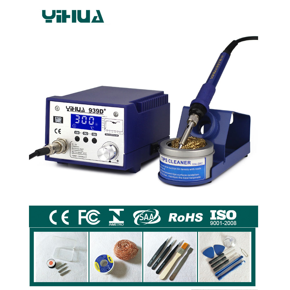 Anti-static Adjustable thermostat electric iron soldering welding station soldering iron Maintenance 110V 220V 939D+ 936a 70w lead free thermostat soldering station soldering tools anti static industrial electric iron welding station