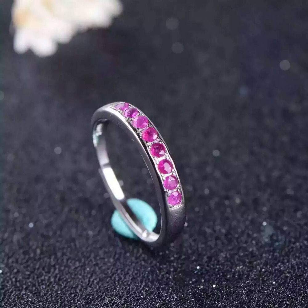 Natural red ruby gem Ring Natural gemstone ring 925 sterling silver trendy Slender elegant array women party fine Jewelry