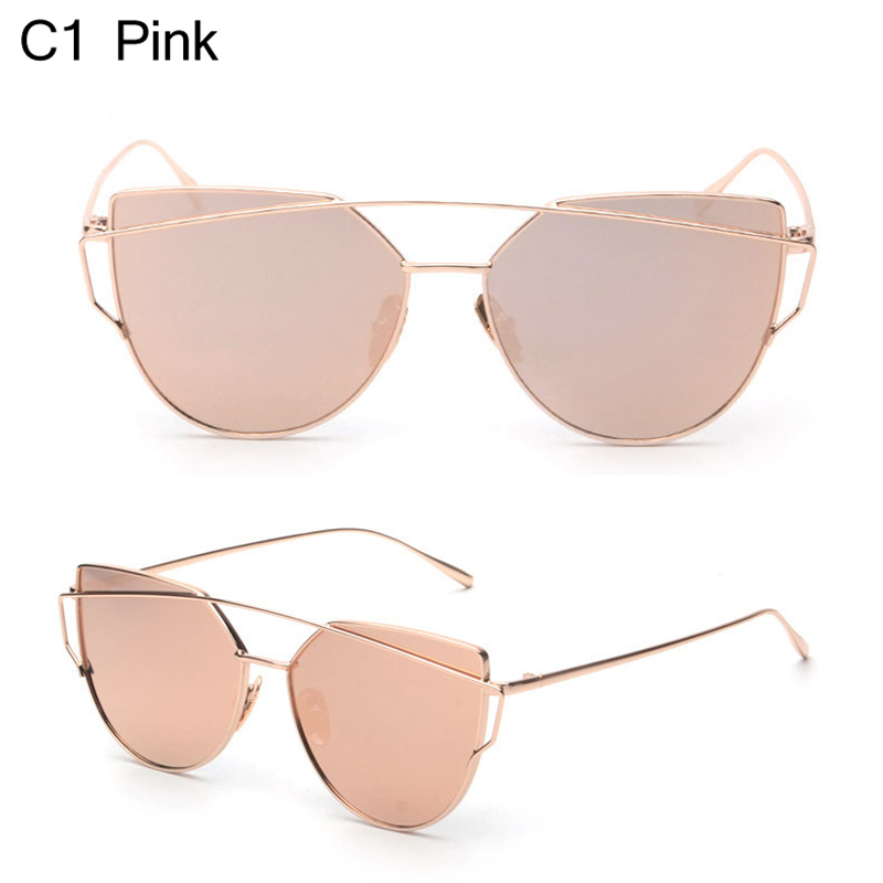 17b68f12d1 Owl City Cat eye Women Sunglasses Brand Design Mirror Flat Rose Gold  Vintage Cateye Fashion sun glasses lady Eyewear UV400-in Sunglasses from  Apparel ...