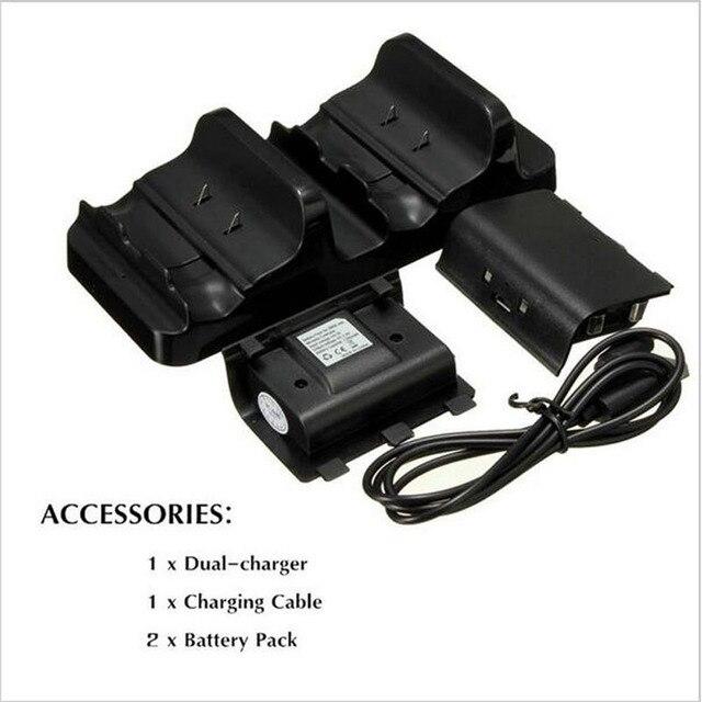 Двойной Зарядки Док Зарядное Устройство + 2x Аккумулятор + USB Кабель для Зарядки Шнур для Беспроводной Контроллер Xbox One Gamepad + Отслеживания
