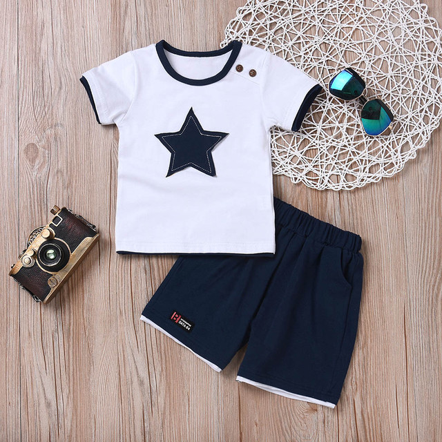 Newborn baby boys clothing set five-star t-shirt and short 2pc set 2