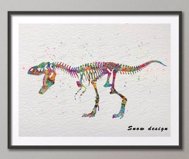 DIY Original Watercolor Skull Dinosaur Wall Art Canvas Painting Poster  Prints Pictures Living Room Home Decor