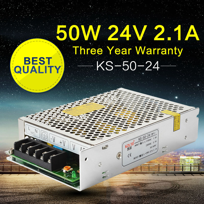 Switching Power Supply 24V 2.1A 50W Transformer 24V AC-DC Switching Power Supply Driver for LED Strip Light CNC Retail/Wholesale ac dc 36v ups power supply 36v 350w switch power supply transformer led driver for led strip light cctv camera webcam
