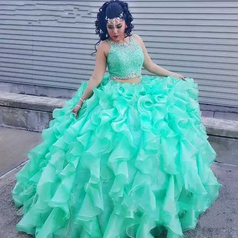 186a8a2050e Two Pieces Mint Green Quinceanera Dress 2019 Lace Top Crystal Beads Ball Gown  Ruffles Arabic Sweet
