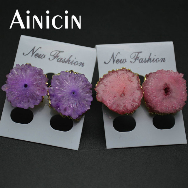1 par natural drusy brincos do parafuso prisioneiro de cristal flor rosa roxo moda inverno mulheres partido jóias