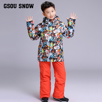 2018 Kids Ski Suit Boys Ski Jacket Pant Skiing Snowboard Suit Waterproof Windproof Super Warm Children