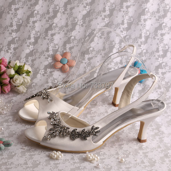 ФОТО Designer Brand Ladies Sandals Medium Heel Women Summer Dress Shoes Ivory Satin