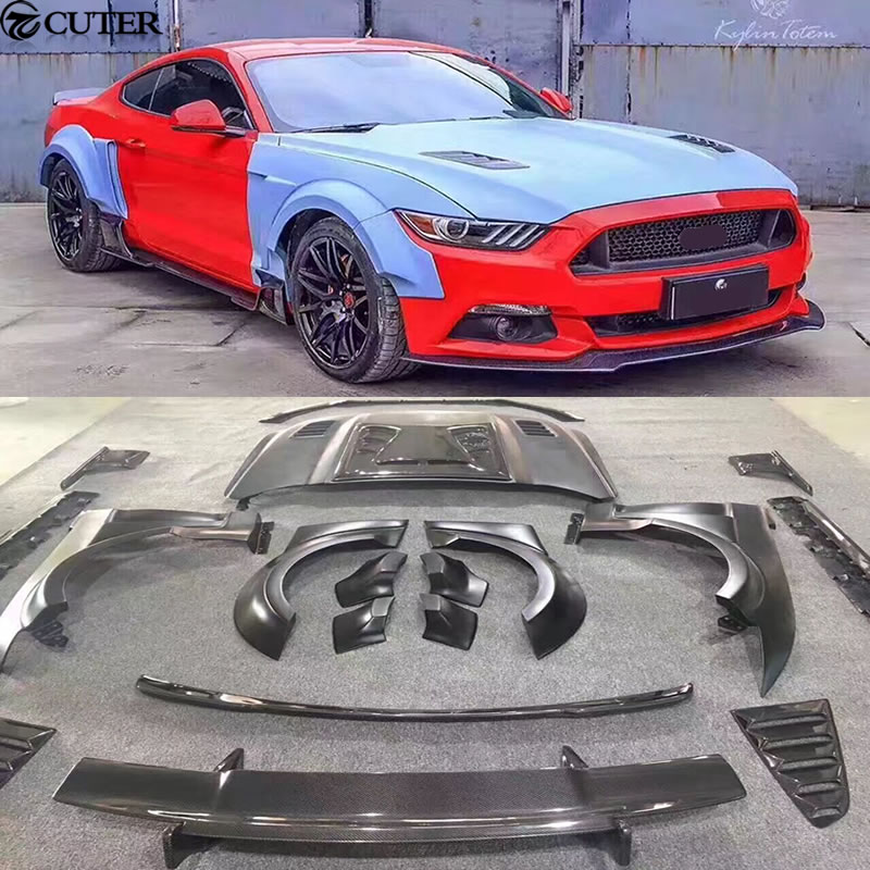Carbon fiber + FRP Wide Car body kit Unpainted front lip Rear diffuser engine hood for Ford Mustang KylinTotem style 15 17|kit car bodies|hood hood|hood carbon fiber - title=