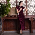 Hot Chinese dresses high-grade long cheongsam Floral cheongsam chinese traditional clothing oriental dresses Velvet qipao dress