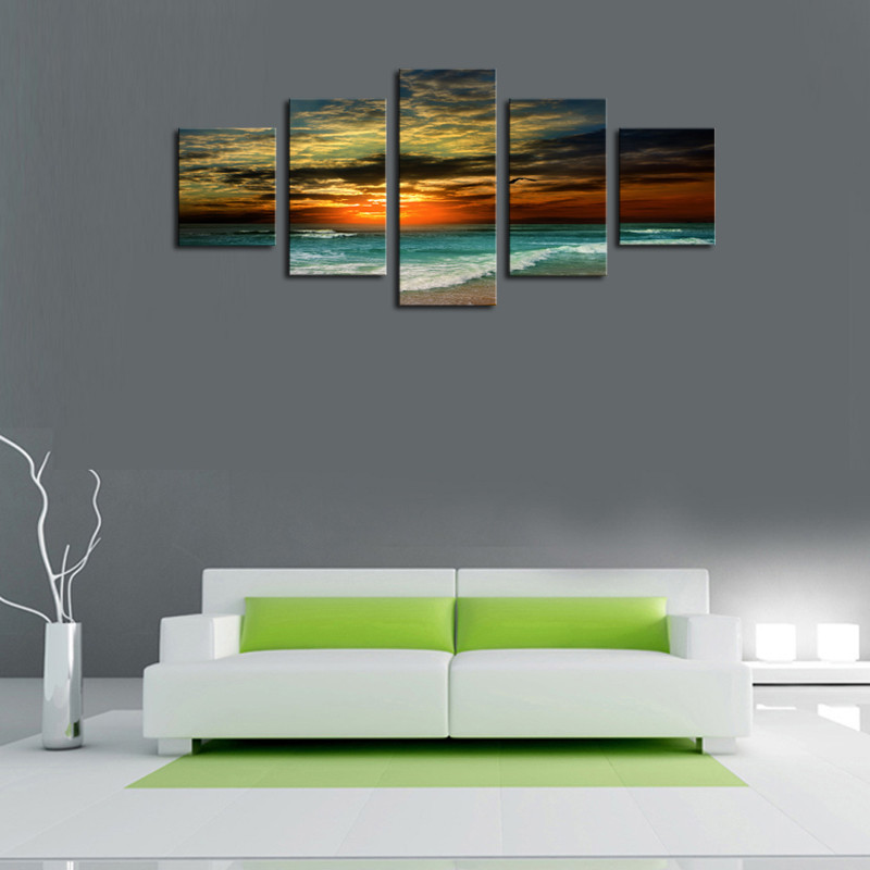 Unframe 5 Panels The Setting Sun Sea Wave Picture HD Canvas Print Painting Artwork Wall Art Canvas painting Wholesale