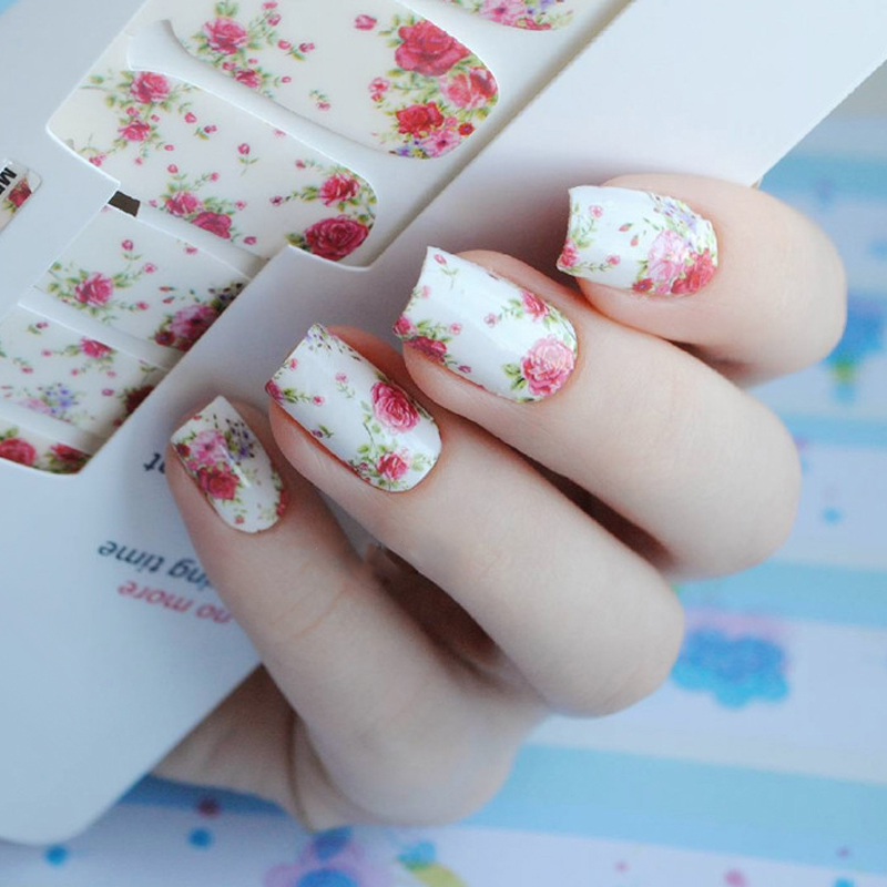14pcs/ Sheet Flowers Nail Wraps Red Rose Nail Art Full Stickers BORN PRETTY MDS1013 # 23251 1pcs hot fashion women red rose nail art