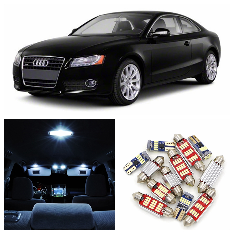 17pcs Canbus White LED Light Car Bulbs Interior Package Kit For 2009-2012 Audi A5 S5 Map Dome License Plate Lamp Super Bright white canbus car led dome map mirrors puddle trunk lighting package for audi q5 sq5 led interior light kit 2009 2013 22x