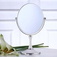 8 inch Portable Desktop Makeup Mirror Europe Type Double Toilet Glass Mirror 1: 2 zoom Lens White Wine Red
