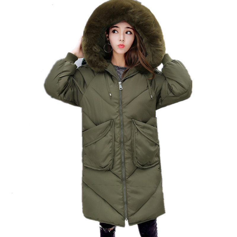 Winter Large Faux Fur Collar Hooded Large Pockets Warm Parka Coat Thick Large Size Korean Loose Jacket Women Parkas TT3124 large size winter parkas women hooded jacket coats korean loose thick big fur collar down long overcoat casual warm lady jackets