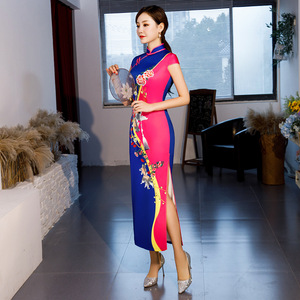 Image 5 - Hot Sale Traditional Chinese Women Long Dress Summer New Silk Satin Qipao Sexy Slim Printed Cheongsam Plus Size M L XL XXL XXXL
