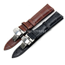 New 20  22 24mm For Tissot T035 Genuine Leather Watch Band Strap Watchband Silver Butterfly Folding Buckle Clasp + Tool  все цены