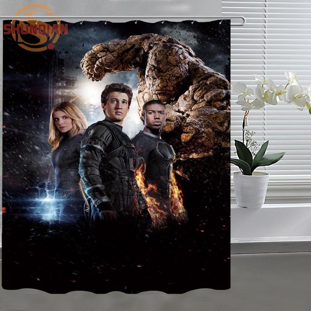 Good Fantastic Four Custom Shower Curtain Fabric Polyester Bathroom Curtain  Acceptable Custom Printed Shower Curtains