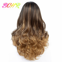 BCHR 22inch Long Wavy Ombre Wig Synthetic Lace Front Wigs For Women Brown Blonde Wig Lace Hair Free Shipping