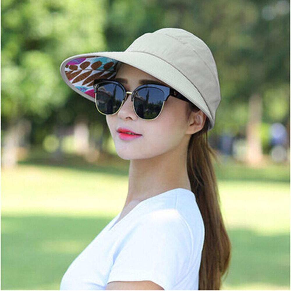 Women's Cap Anti-UV Sun Protection Foldable Summer Beach Hat Female Sun Shade Wide Brim Hats Chapeau Femme Ete Drop Shipping C