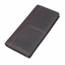 Men Wallets Top Layer Cow Leather Men's Long Purse Busines Card Holder Classic Wallet 8059Q