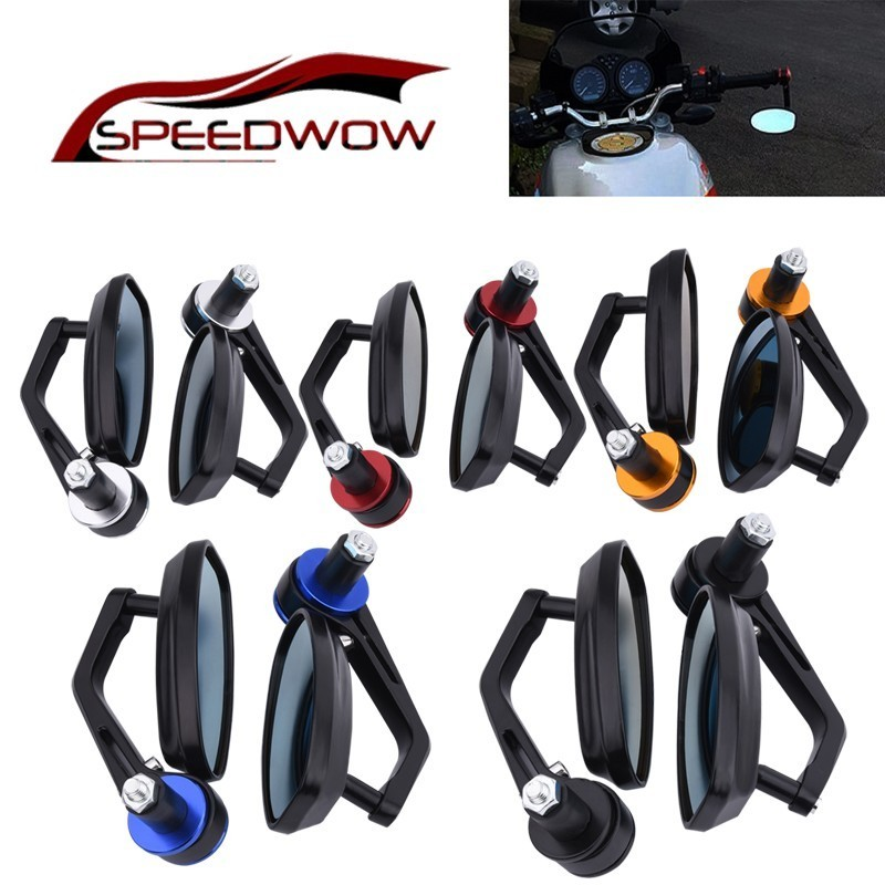 "SPEEDWOW 7/8"" 22mm Universal Motocycle Rearview Mirrors Rear View Motor Handlebar End Mirror Racer Mirrior"