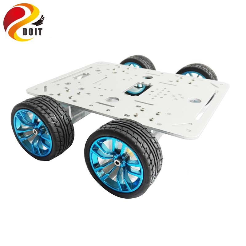 цена на Original DOIT Silver C300 Metal 4WD Wheel Car Chassis Development Kit Remote Control DIY RC Toy Smart Robot Car Model