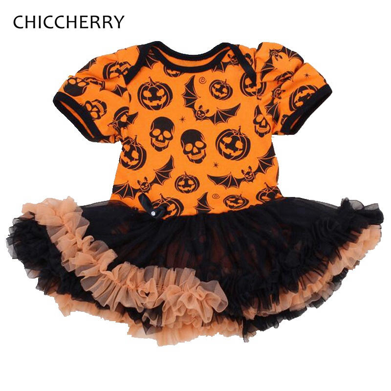 Skull Pumpkin Baby Girl Halloween Costumes Toddler Lace Romper Dress Jumpsuit Infantil Girls Clothes New Born Infant Clothing