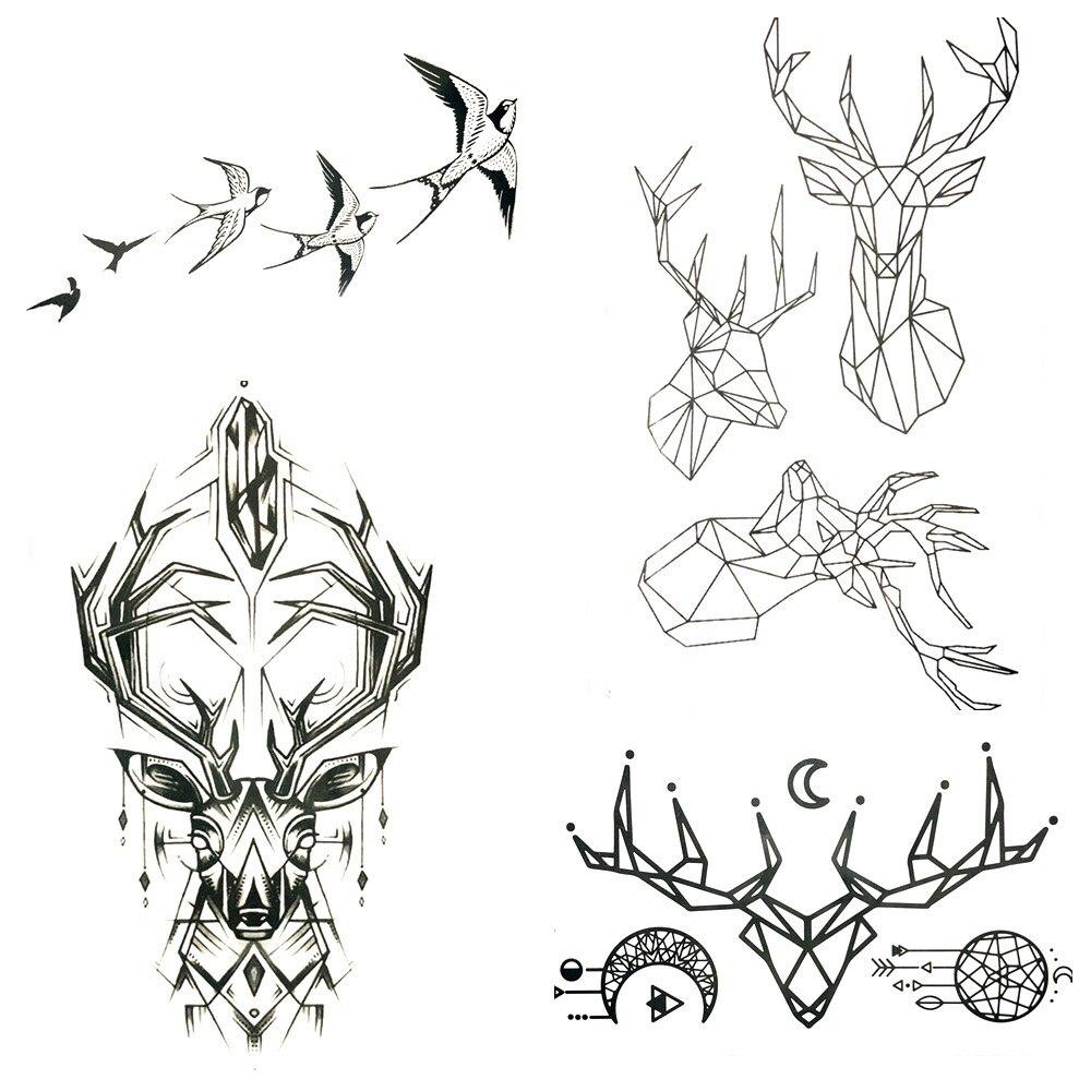 Small Tattoo Art: 10.5x6CM Small Black Geometric Deer Waterproof Tattoo