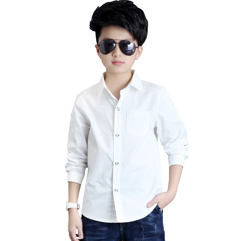 White Button Boys Shirts for School 2018 Full Sleeve Turn down Boys Blouses  Children Tops Teenager Kids Clothing Clothes Bs020 Shirts  - AliExpress