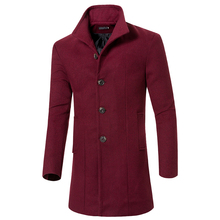 цена на long coat autumn and winter new men's solid color wool windbreaker men's fashion casual section single-breasted woolen coat