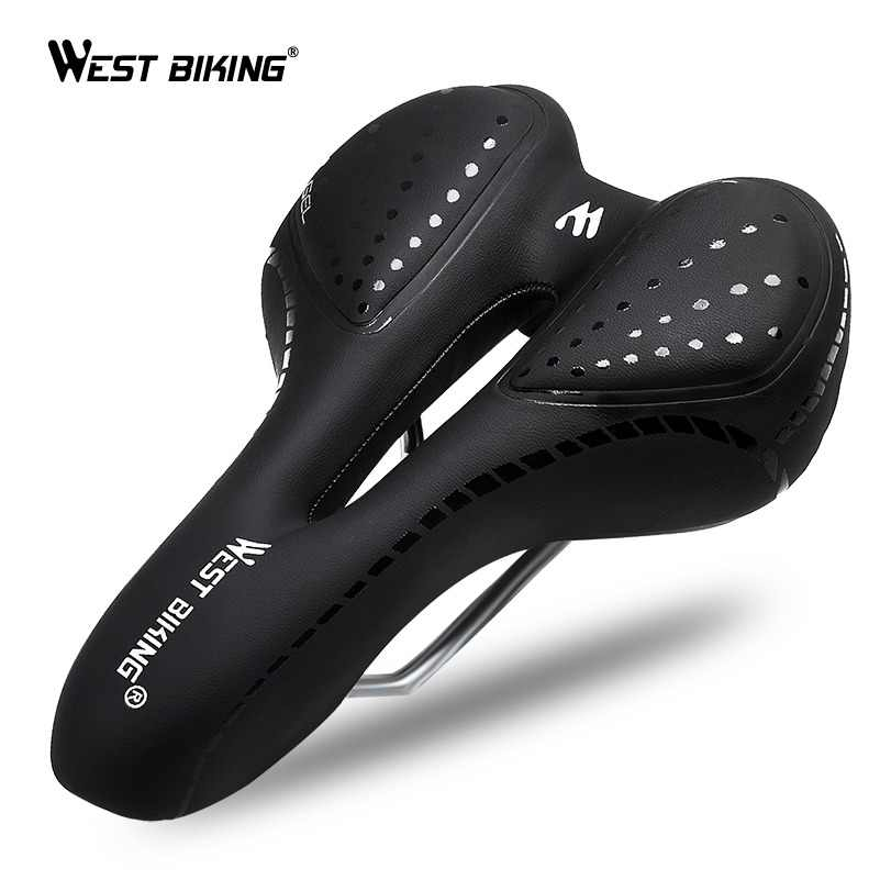 WEST BIKING Bicycle Saddle Breathable PU Leather Hollow Cushion Comfortable Road MTB Bike Saddle GEL + Polyurethane Shockproof