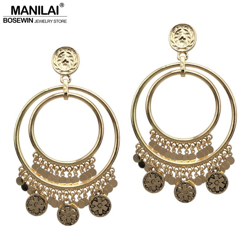 MANILAI Ethnic Coins Dangle Statement Earrings For Women 2017 Big Circle Alloy Bohemian Fashion Jewelry Earring Gold Color gold big circle geometric statement stud earrings