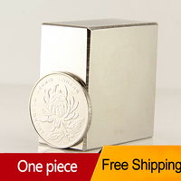 1pcs Block 40x40x20mm N52 Super Strong Rare Earth Magnets Neodymium Magnet High Quality Free Shipping