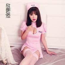new women Novelty Sexy Nurse Cosplay Costume Set Ladies Lingerie Dress Luru Erotic Babydoll Costume Nurse Suit With Hat pink