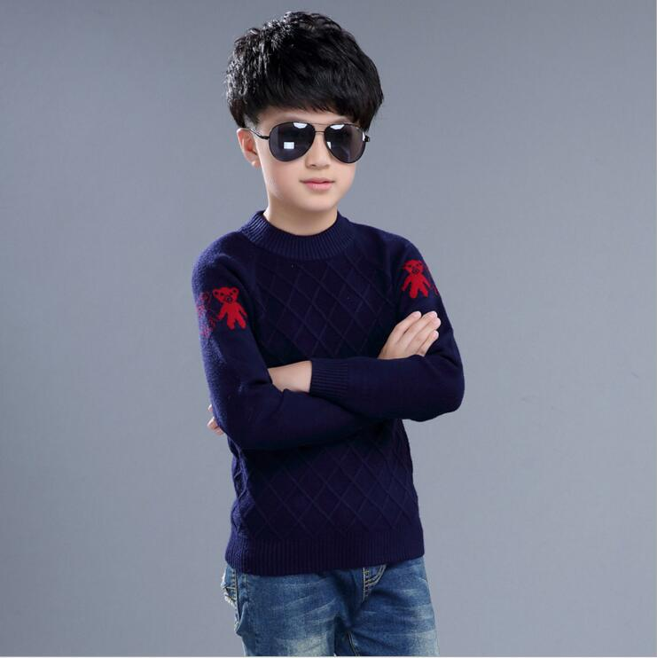 Back to School Outfits Boys Sweater 2018 New Autumn Children Knitwear O-neck Boys Wool Sweater Kids Fashion Outerwear 10 12 Year