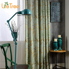 Different Leaves Printed Modern Blackout Curtains For Bedroom Pastoral Balcony Drapes Living Room Linen Curtain Custom Made