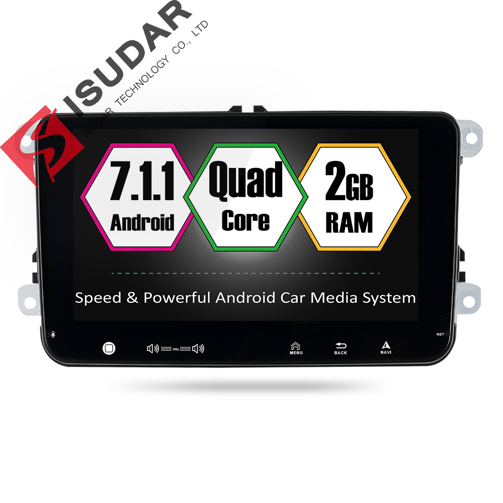 Isudar Car Multimedia Player GPS Android 7.1.1 2 Din For VW/Volkswagen/POLO/PASSAT/Golf/Skoda/Octavia/Seat/Leon Canbus Car Radio isudar car multimedia player gps 2 din autoradio for vw polo passat b6 golf 5 skoda octavia seat leon radio dvd automotivo dab