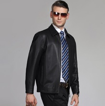 2017 Hot Autumn Brazil style  leather biker jacket Sheepskin turn down Collar motorcycle man coat Leather  Jaqueta de couro