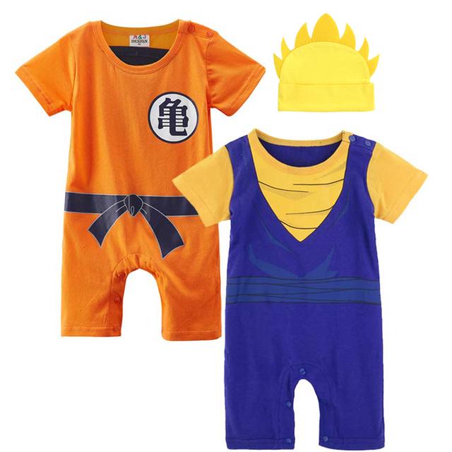 Nouveau-né Bébé Garçon Dragon Ball Z et Vegetto Costume Barboteuse avec le Chapeau Infantile Parti Combishort Bébé Bebe Salopette Ensemble 3 pcs