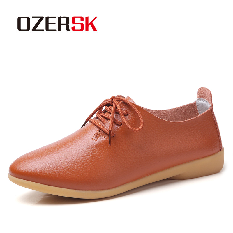 OZERSK Big Size 34-44 Woman Classic Loafers Genuine Leather Shoes Woman Lace Up Ballet Flats Female Low Heel Moccasins