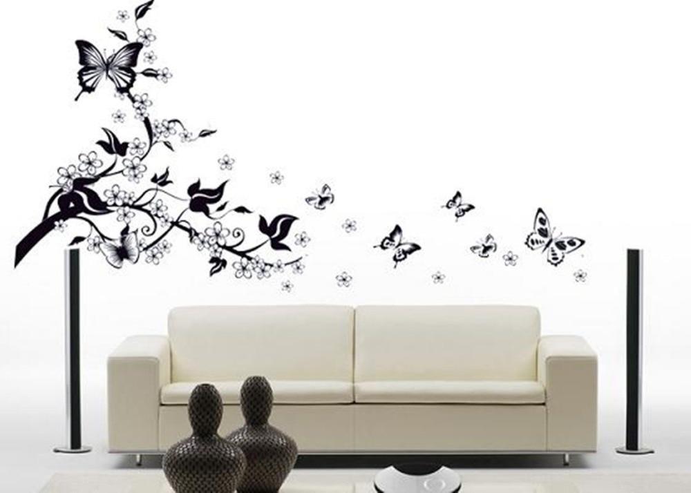 Big Black Flower Butterfly Vine Wall Sticker Art Home
