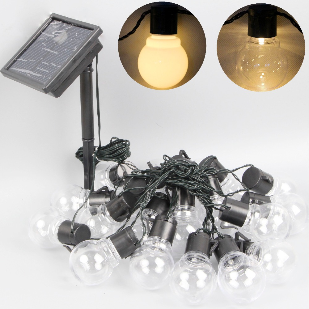 Outdoor Bistro Solar Powered Globe String Lights: Solar Power LED Festoon Globe Ball String Light Christmas