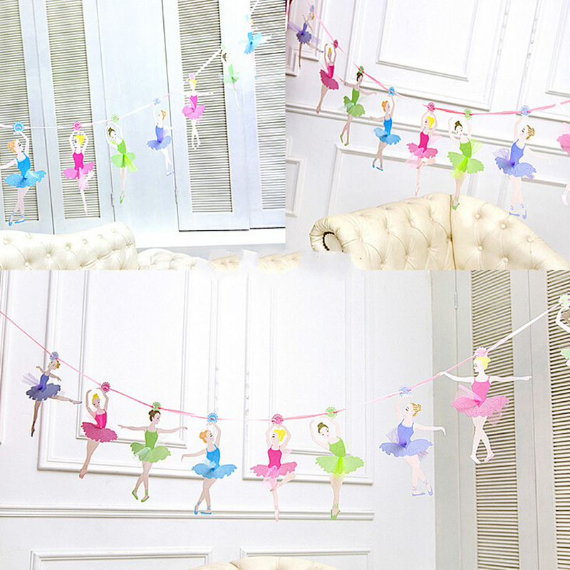 10Pcs/Pack 3M Ballet Girl Paper Flag Children Creative Birthday Party Supply Baby Shower Decoration Beautiful Princess Banner