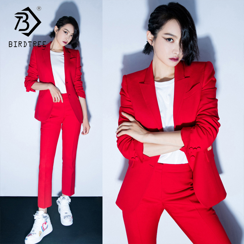 Women's Office Lady Two Pieces Sets Solid Red Elegant Single Breasted Turn-down Collar Blazers And Full Length Trousers S88705Y(China)