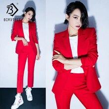 Женский офисный Женский комплект из двух предметов, однотонный Красный Элегантный однобортный пиджак с отложным воротником и длинные брюки S88705Y