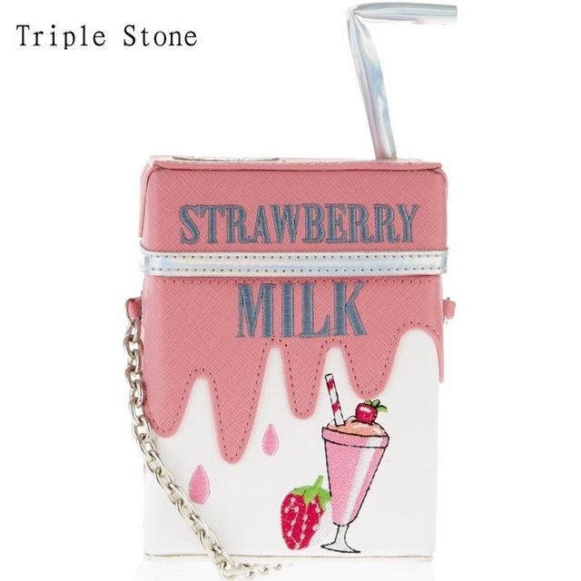 Triple Stone Personality Milk Box Drink Bottle Shape Shoulder Bag Strawberry Lemon Printing bag with straw Summer femle Handbag