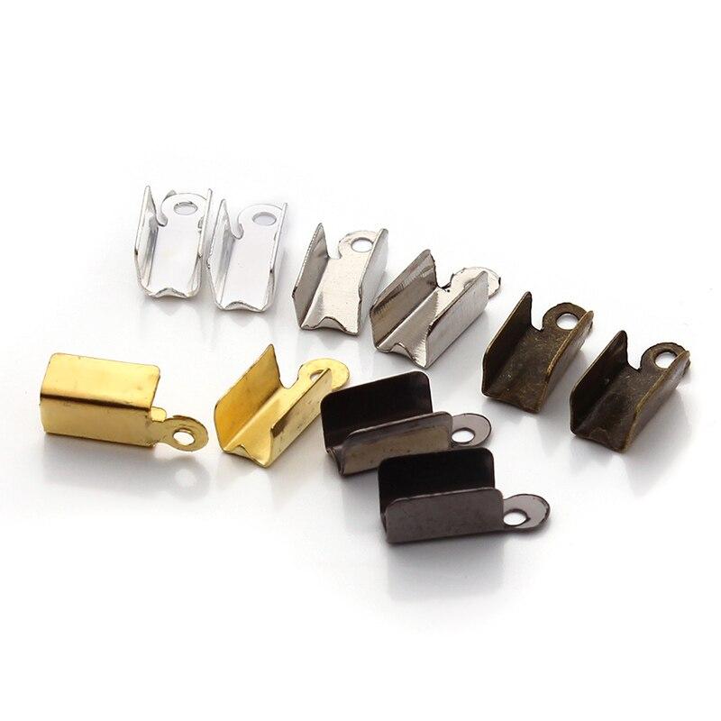 200pcs/lot Necklace/Cord Crimp End Caps Tips W/Loop 4.5*12mm end caps F19