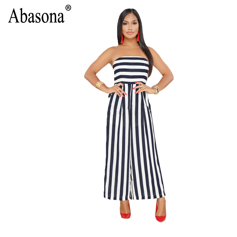 Abasona Summer Striped Rompers Womens Jumpsuit Sexy Strapless Sleeveless Wide Leg Jumpsuit Elegant Office Work Overalls Feminino